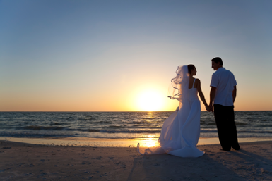Destination wedding at sunset
