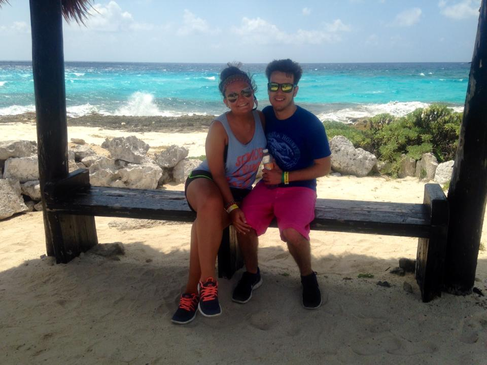 Christine and her fiance in Cozumel, Mexico