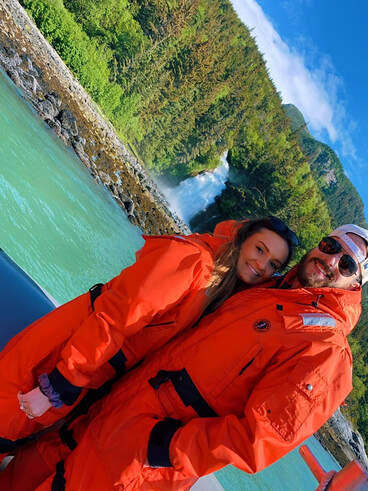 Christine and her fiance during a speedboat excursion through a fjord during their stop in Skagway, Alaska.
