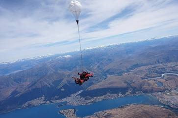 Maggie skydiving while in New Zealand.