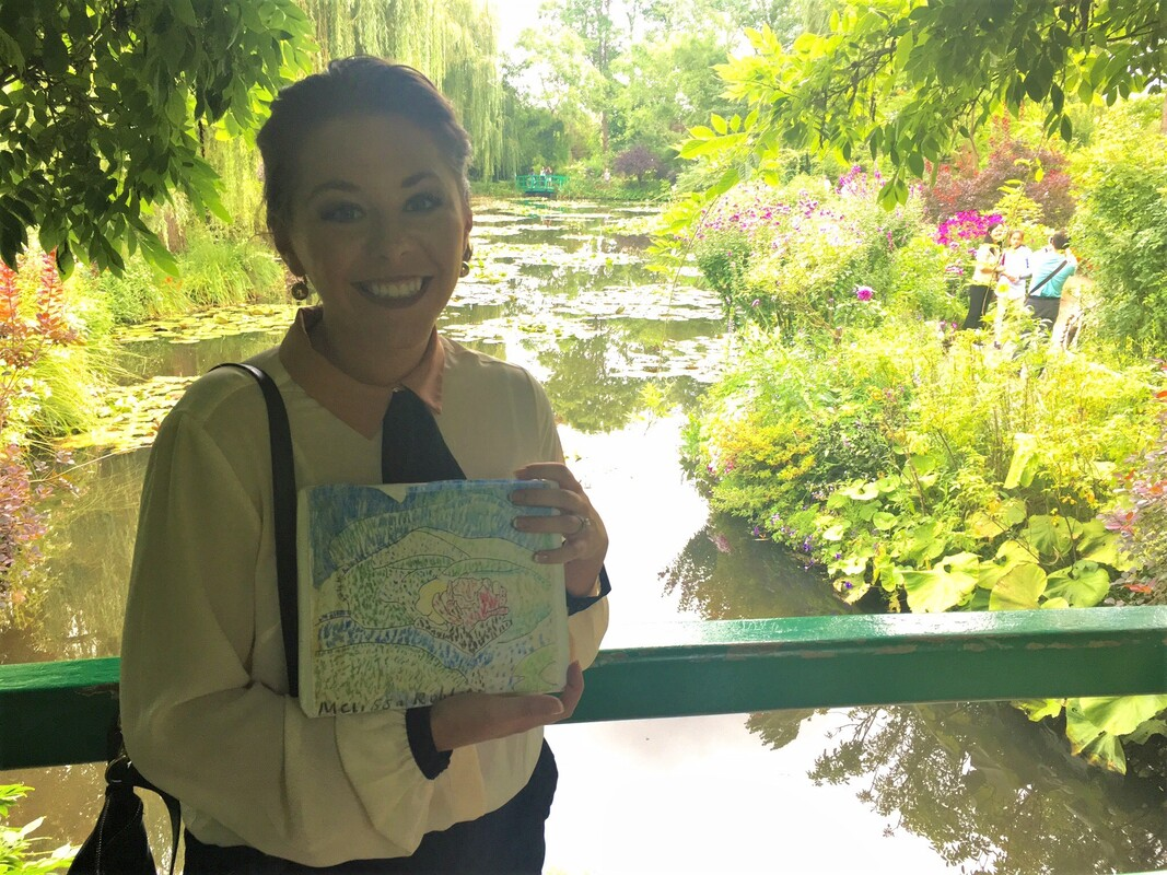 Missi on Claude Monet's Japanese Bridge in Giverny.
