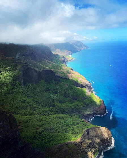 A photo taken during Janine & her husbands helicopter excursion over Hawaii.